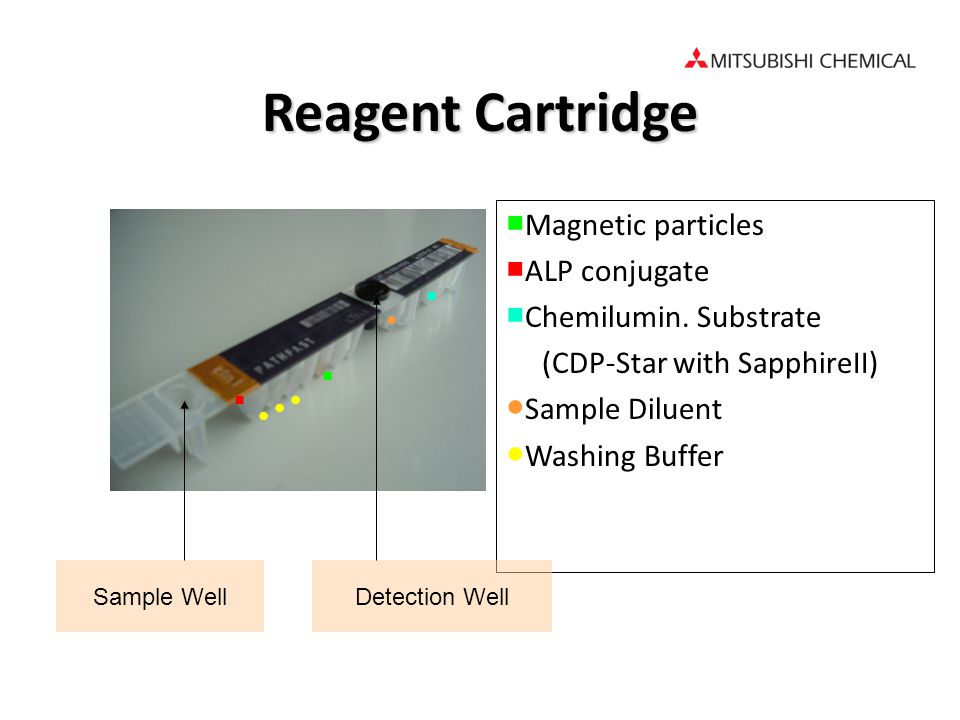 Sample Well Magnetic particles ALP conjugate Chemilumin. Substrate (CDP-Star with SapphireII) Sample Diluent Washing Buffer Detection Well Reagent Car
