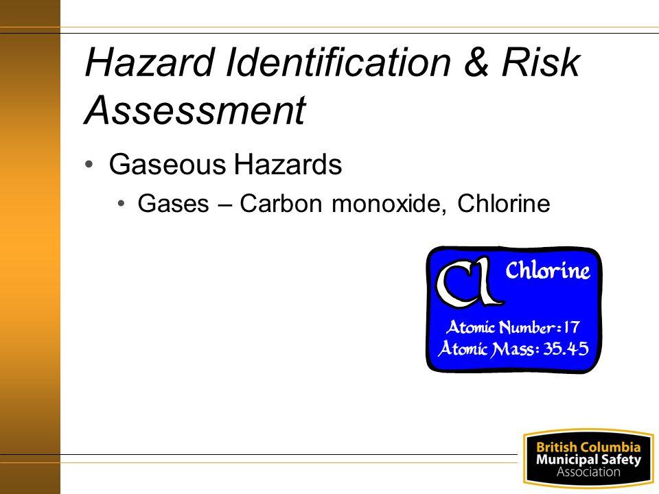 Hazard Identification & Risk Assessment Gaseous Hazards Gases – Carbon monoxide, Chlorine