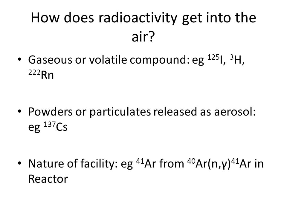 How does radioactivity get into the air.