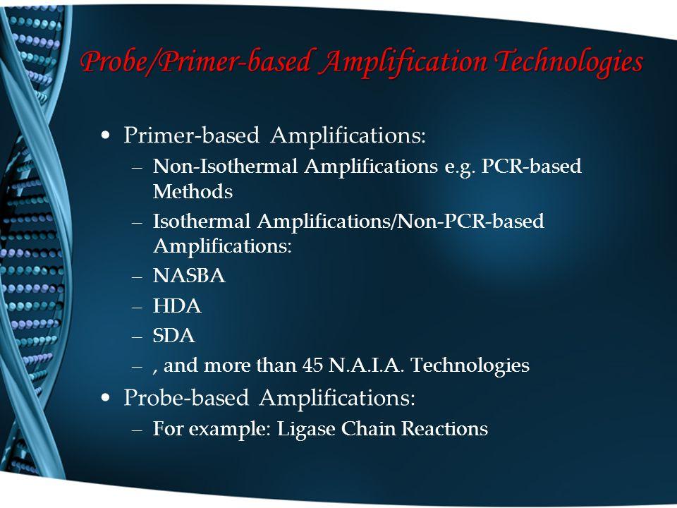 Probe/Primer-based Amplification Technologies Primer-based Amplifications: –Non-Isothermal Amplifications e.g. PCR-based Methods –Isothermal Amplifica