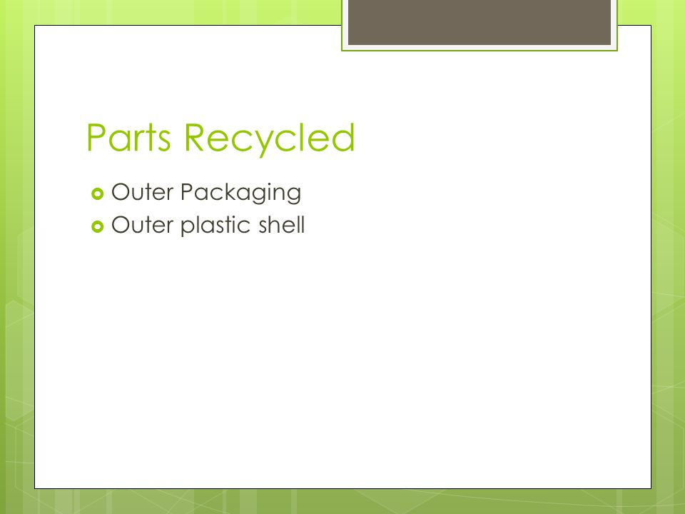 Parts Recycled Outer Packaging Outer plastic shell
