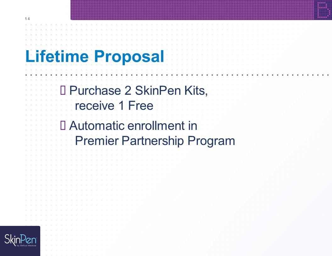 1414 Lifetime Proposal Purchase 2 SkinPen Kits, receive 1 Free Automatic enrollment in Premier Partnership Program