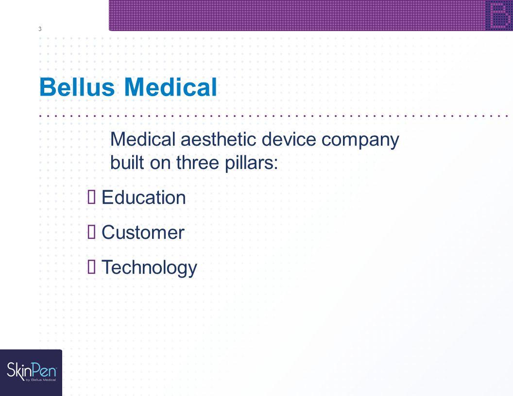 Bellus Medical Medical aesthetic device company built on three pillars: Education Customer Technology 3