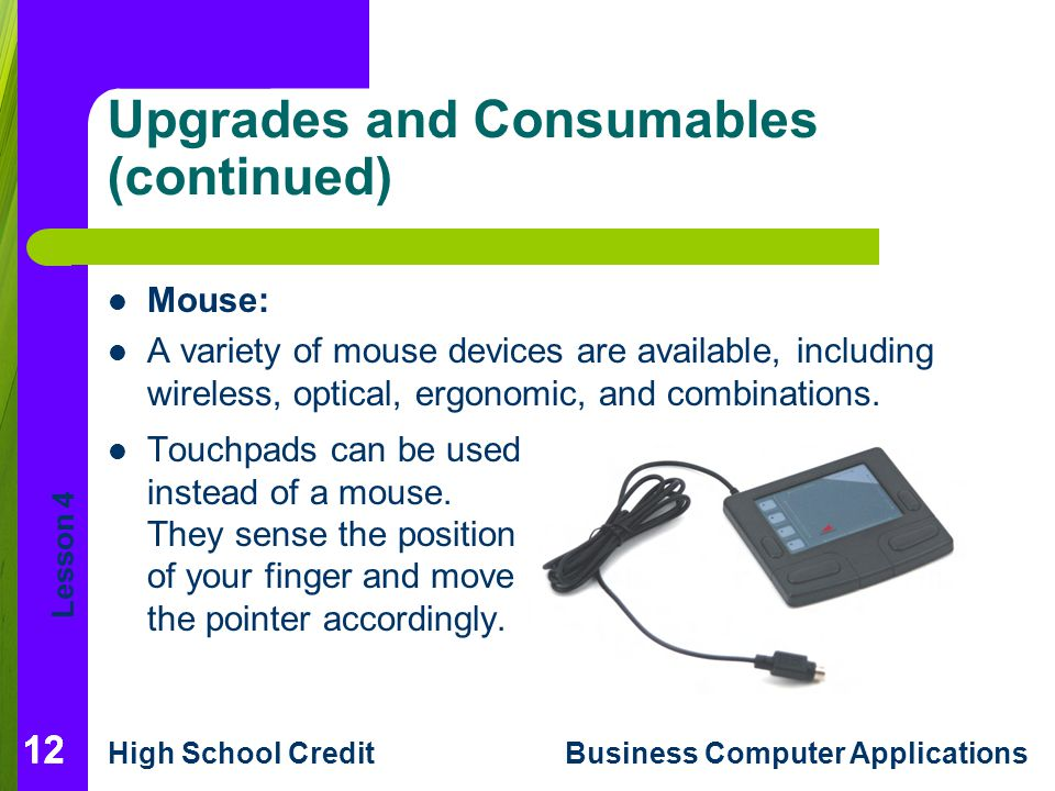 Lesson 4 High School CreditBusiness Computer Applications 12 Upgrades and Consumables (continued) Mouse: A variety of mouse devices are available, including wireless, optical, ergonomic, and combinations.