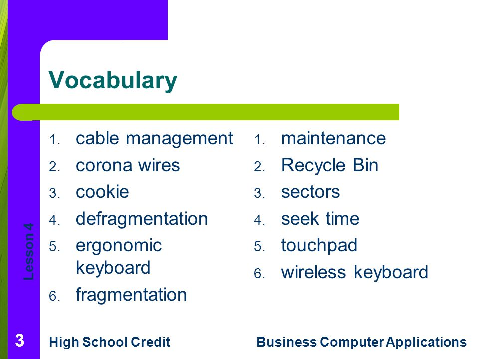Lesson 4 High School CreditBusiness Computer Applications 333 Vocabulary 1.