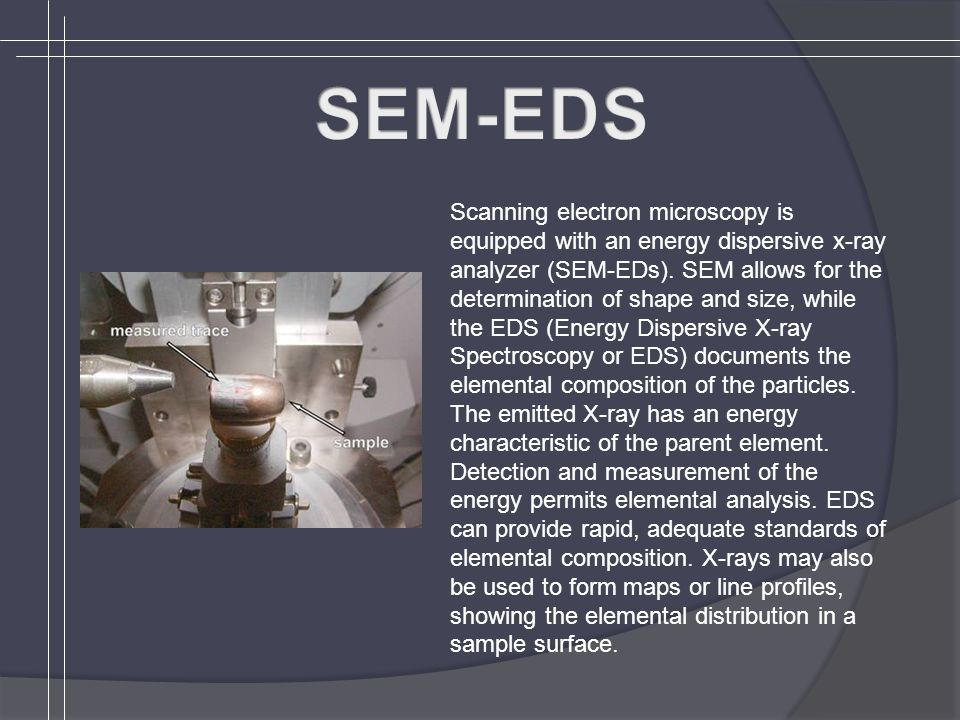 Scanning electron microscopy is equipped with an energy dispersive x-ray analyzer (SEM-EDs).