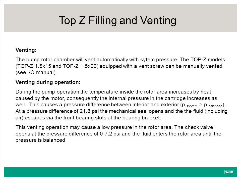 Venting: The pump rotor chamber will vent automatically with sytem pressure.