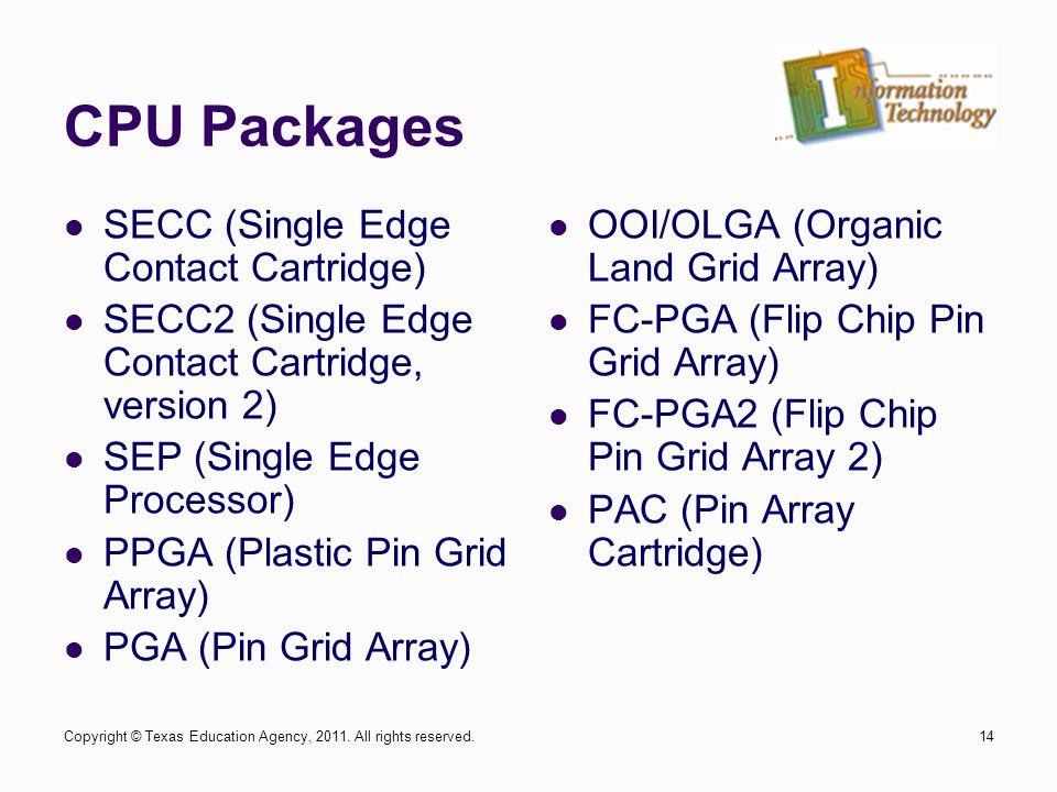 CPU Packages SECC (Single Edge Contact Cartridge) SECC2 (Single Edge Contact Cartridge, version 2) SEP (Single Edge Processor) PPGA (Plastic Pin Grid