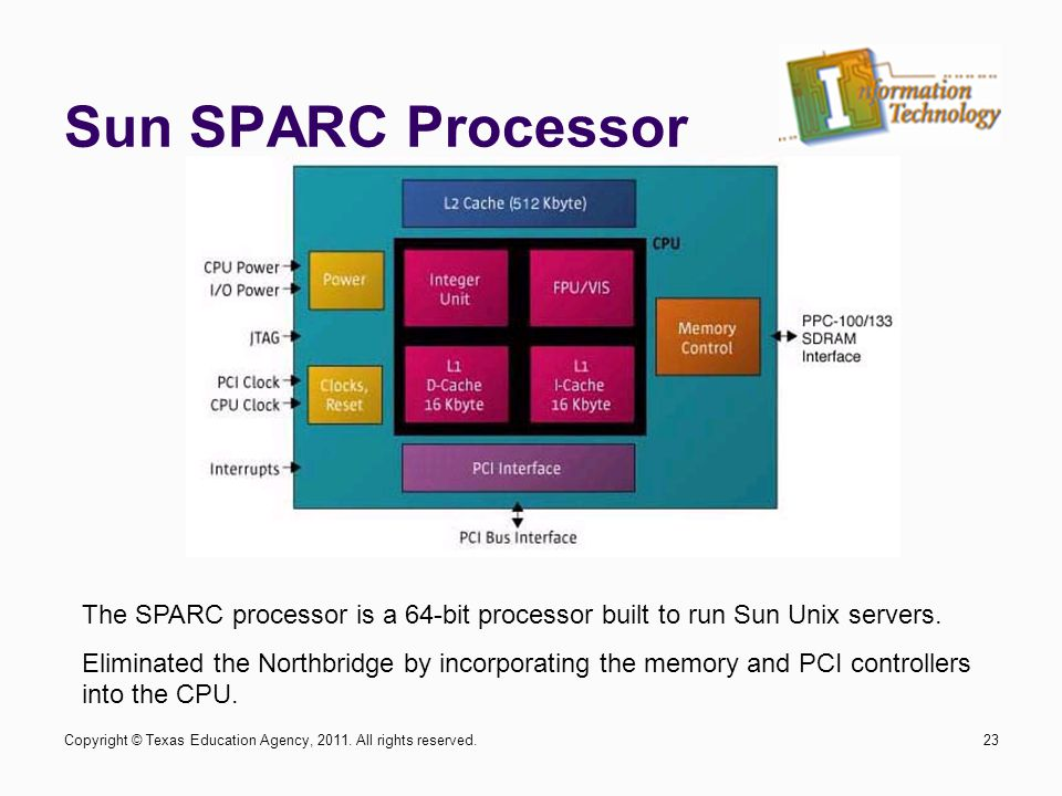 Sun SPARC Processor 23 The SPARC processor is a 64-bit processor built to run Sun Unix servers. Eliminated the Northbridge by incorporating the memory
