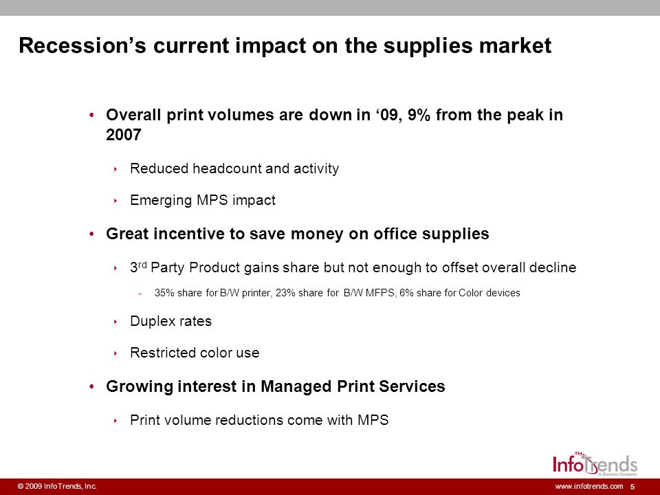 6 © 2009 InfoTrends, Inc.www.infotrends.com Recessions longer term impact on the supplies market Slower growth than previously forecasted Slow return of white collar employment Residual reluctance to increase costs Slower decline for B/W printing Slower shift to color, on-going controls Some aftermarket share gains to stay.
