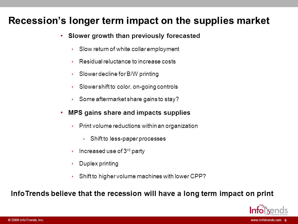 6 © 2009 InfoTrends, Inc.www.infotrends.com Recessions longer term impact on the supplies market Slower growth than previously forecasted Slow return