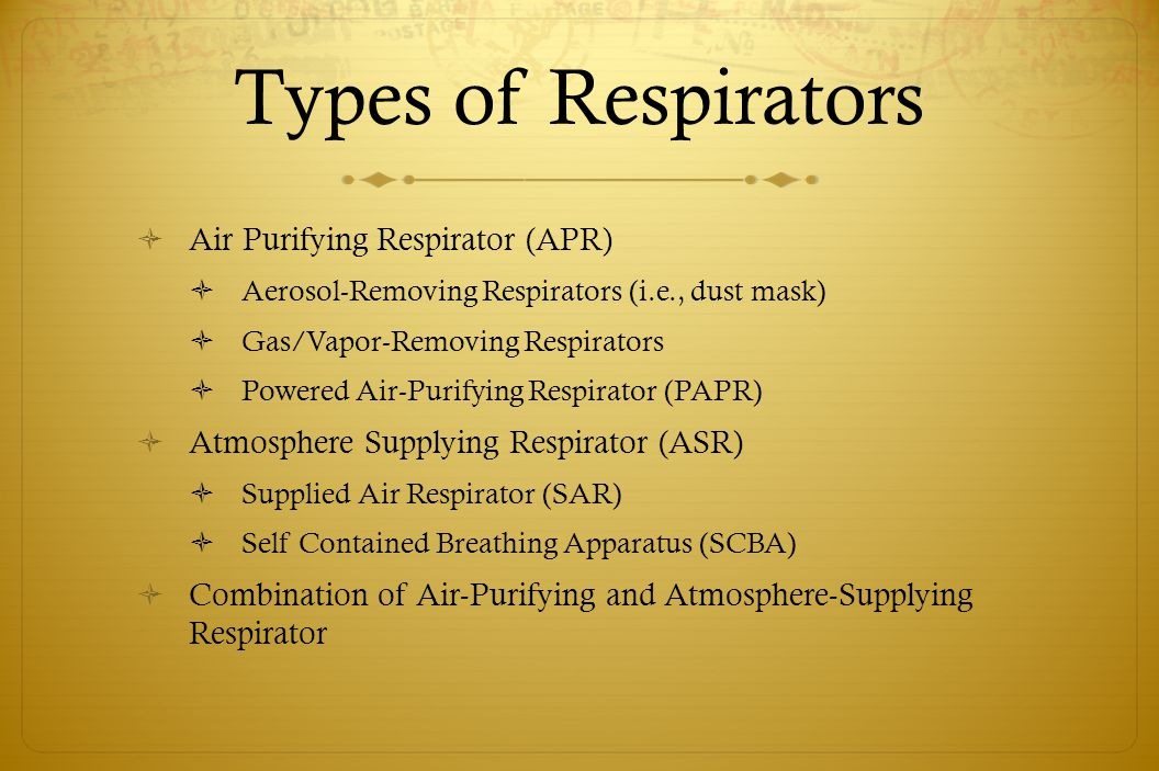 Air Purifying Respirators Types Types of Respirators Air
