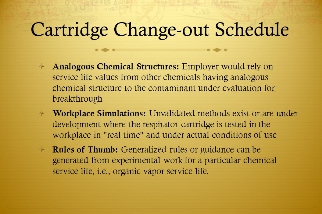 Cartridge Change-out Schedule Analogous Chemical Structures: Employer would rely on service life values from other chemicals having analogous chemical