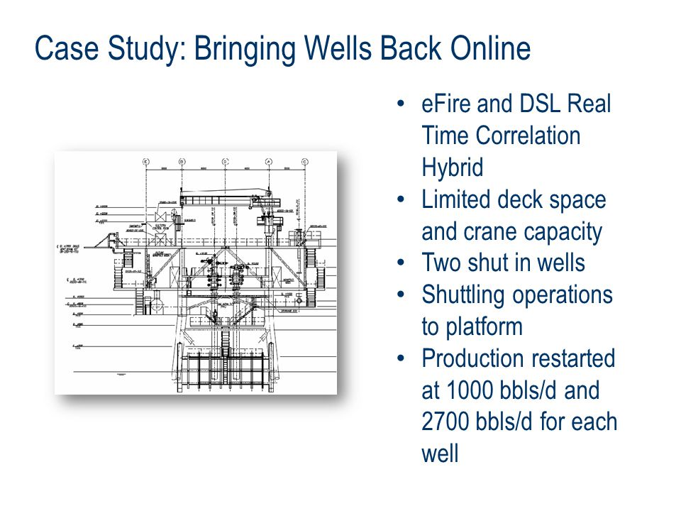 Case Study: Bringing Wells Back Online eFire and DSL Real Time Correlation Hybrid Limited deck space and crane capacity Two shut in wells Shuttling operations to platform Production restarted at 1000 bbls/d and 2700 bbls/d for each well