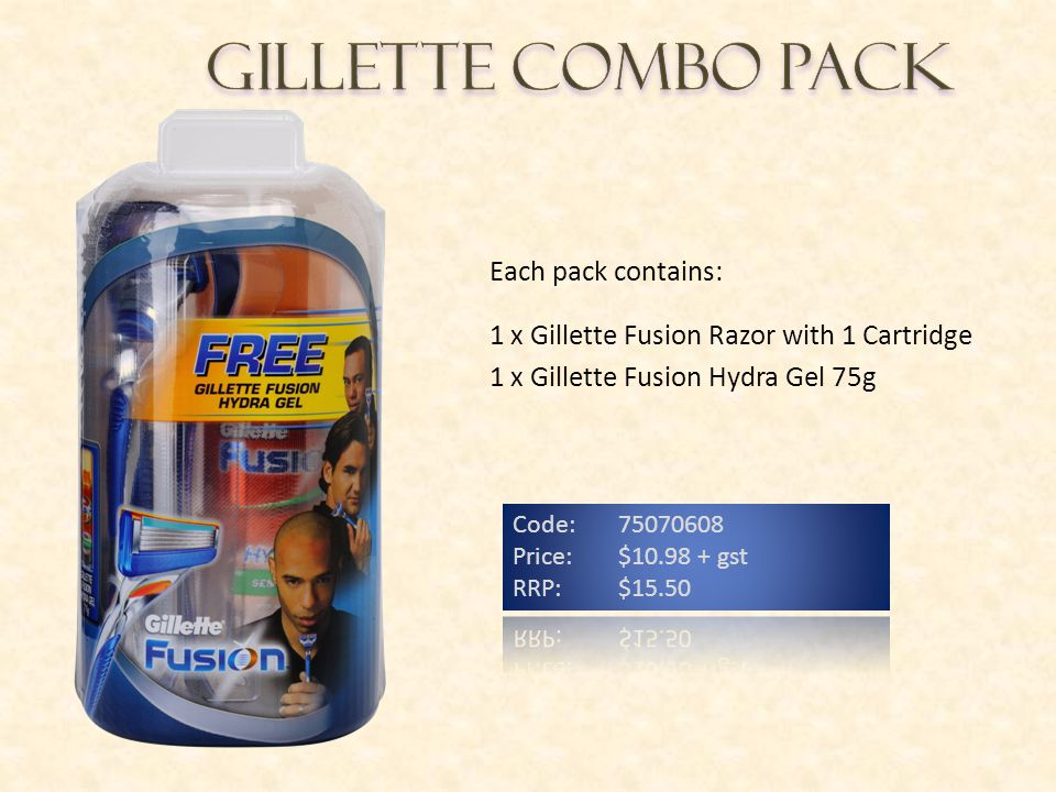Each pack contains: 1 x Gillette Fusion Razor with 1 Cartridge 1 x Gillette Fusion Hydra Gel 75g
