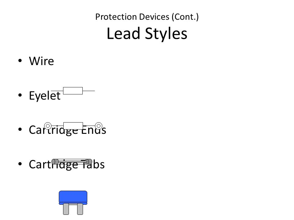Protection Devices (Cont.) Lead Styles Wire Eyelet Cartridge Ends Cartridge Tabs
