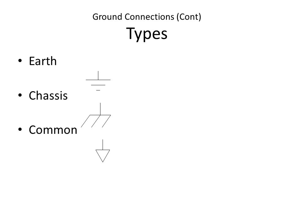 Ground Connections (Cont) Types Earth Chassis Common