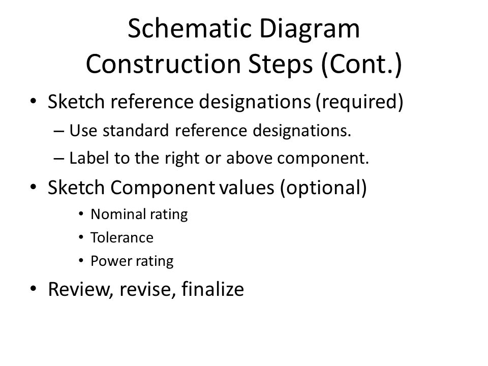 Schematic Diagram Construction Steps (Cont.) Sketch reference designations (required) – Use standard reference designations.