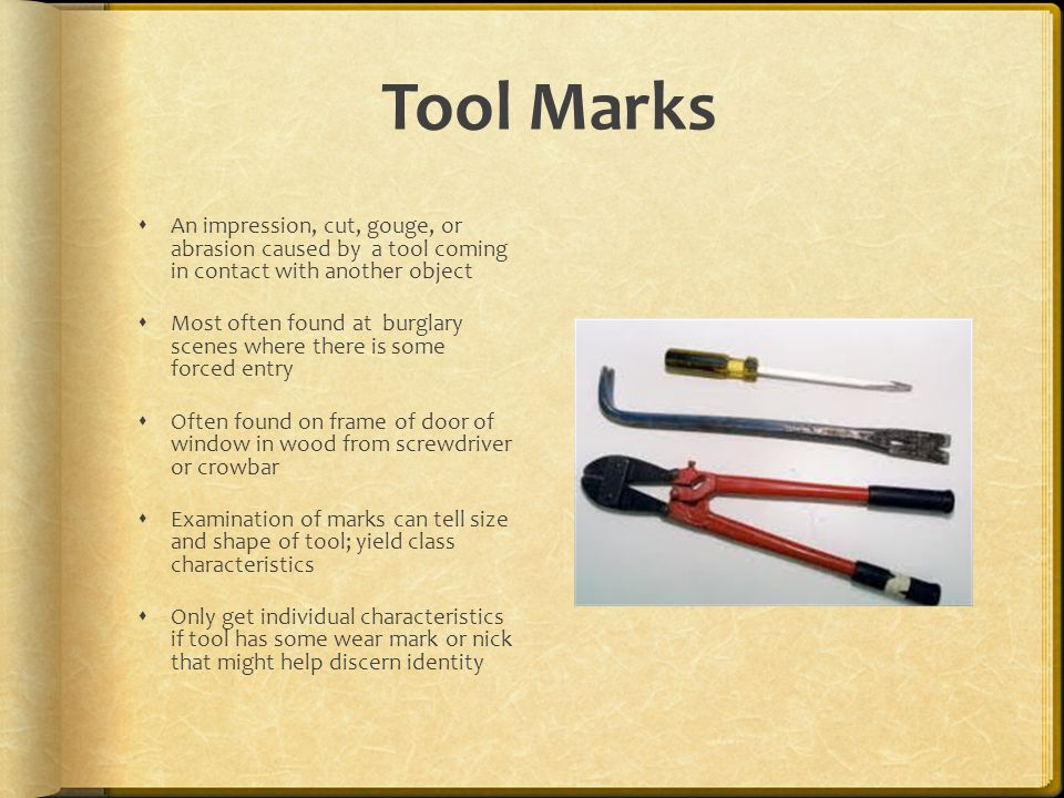 Tool Marks An impression, cut, gouge, or abrasion caused by a tool coming in contact with another object Most often found at burglary scenes where the