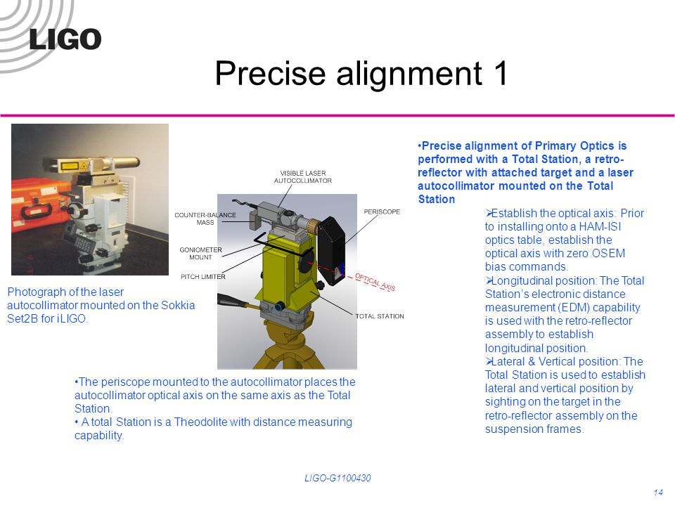 Precise alignment 1 LIGO-G1100430 14 Precise alignment of Primary Optics is performed with a Total Station, a retro- reflector with attached target an