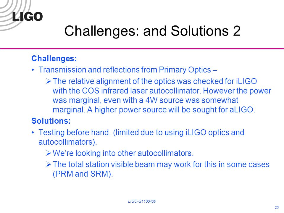 Challenges: and Solutions 2 Challenges: Transmission and reflections from Primary Optics – The relative alignment of the optics was checked for iLIGO