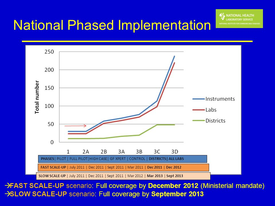 National Phased Implementation FAST SCALE-UP scenario: Full coverage by December 2012 (Ministerial mandate) SLOW SCALE-UP scenario: Full coverage by S