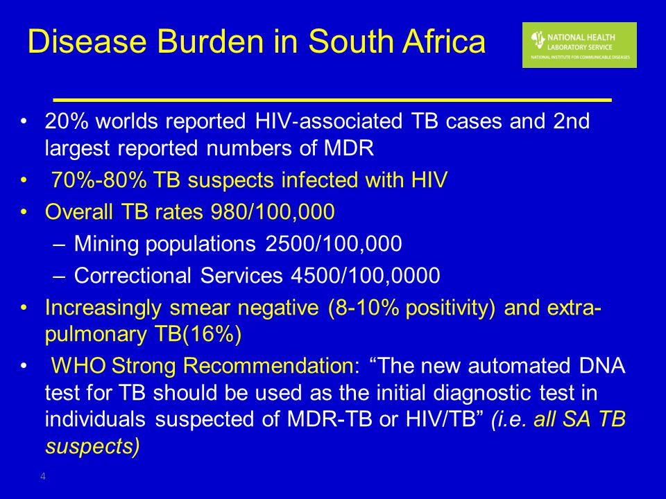 Disease Burden in South Africa 20% worlds reported HIV associated TB cases and 2nd largest reported numbers of MDR 70%-80% TB suspects infected with H