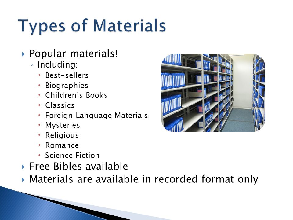 Popular materials! Including: Best-sellers Biographies Childrens Books Classics Foreign Language Materials Mysteries Religious Romance Science Fiction
