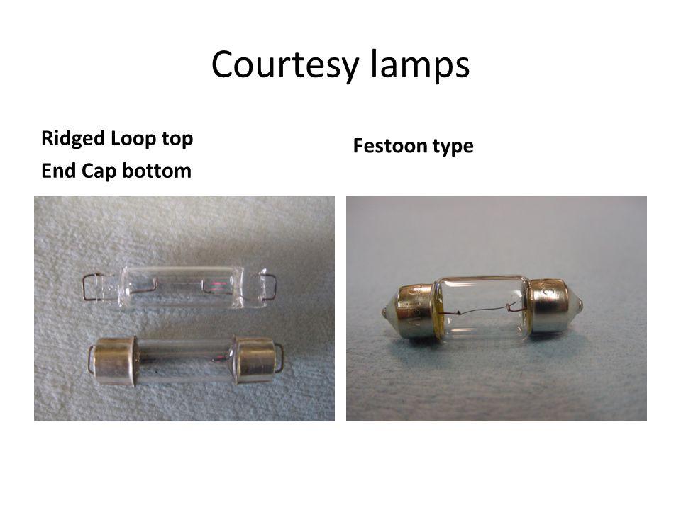 Courtesy lamps Ridged Loop top End Cap bottom Festoon type