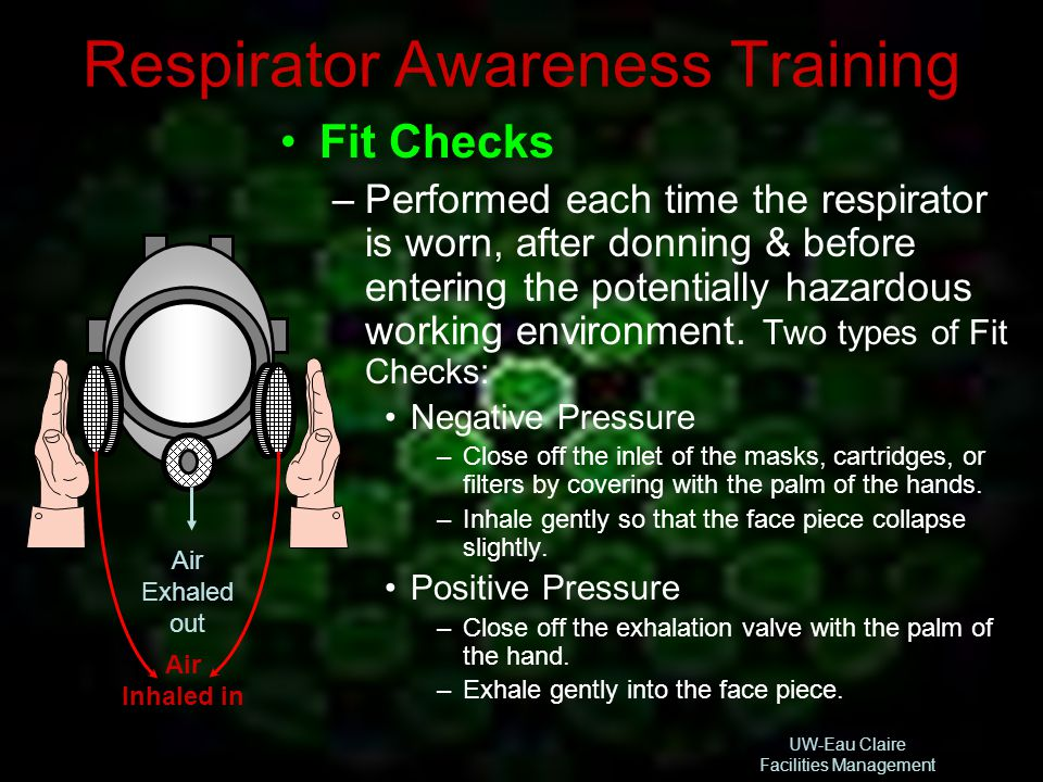 UW-Eau Claire Facilities Management Respirator Awareness Training Fit Checks –Performed each time the respirator is worn, after donning & before enter