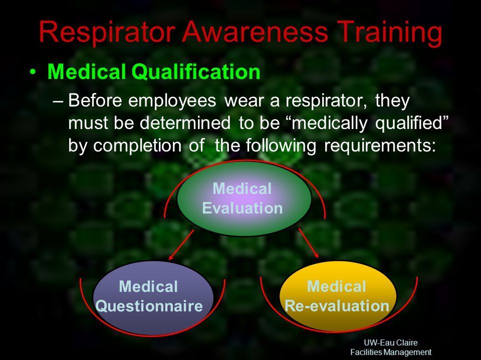 UW-Eau Claire Facilities Management Respirator Awareness Training Medical Qualification –Before employees wear a respirator, they must be determined t