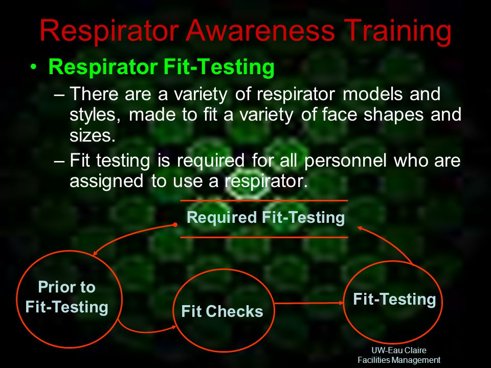 UW-Eau Claire Facilities Management Respirator Awareness Training Required Fit-Testing Fit-Testing Fit Checks Prior to Fit-Testing Respirator Fit-Test