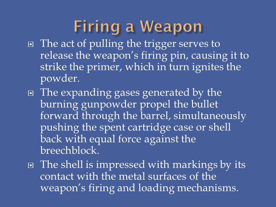 The act of pulling the trigger serves to release the weapons firing pin, causing it to strike the primer, which in turn ignites the powder. The expand
