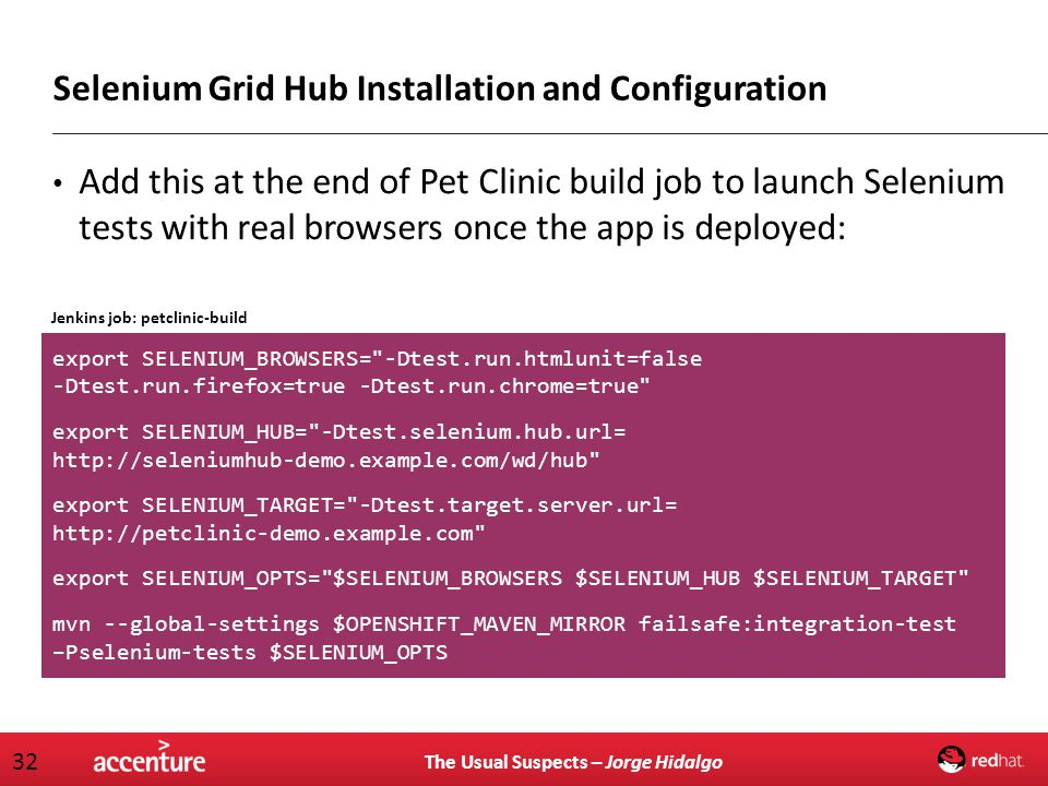 The Usual Suspects – Jorge Hidalgo 32 Add this at the end of Pet Clinic build job to launch Selenium tests with real browsers once the app is deployed