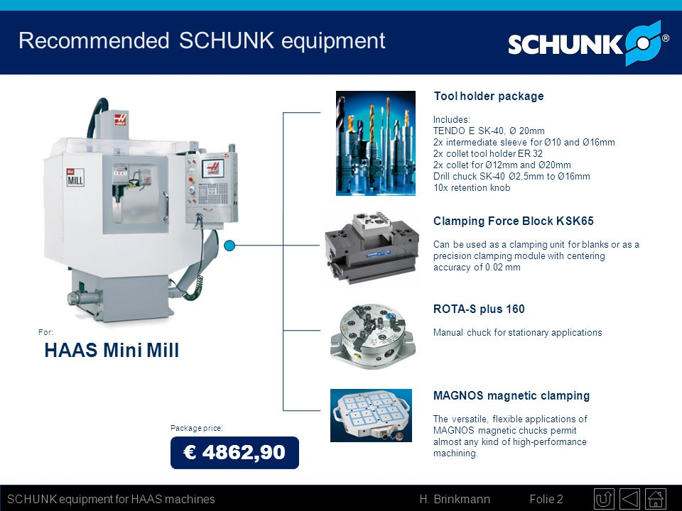 H. Brinkmann Folie 2 SCHUNK equipment for HAAS machines Recommended SCHUNK equipment Tool holder package Includes: TENDO E SK-40, Ø 20mm 2x intermedia