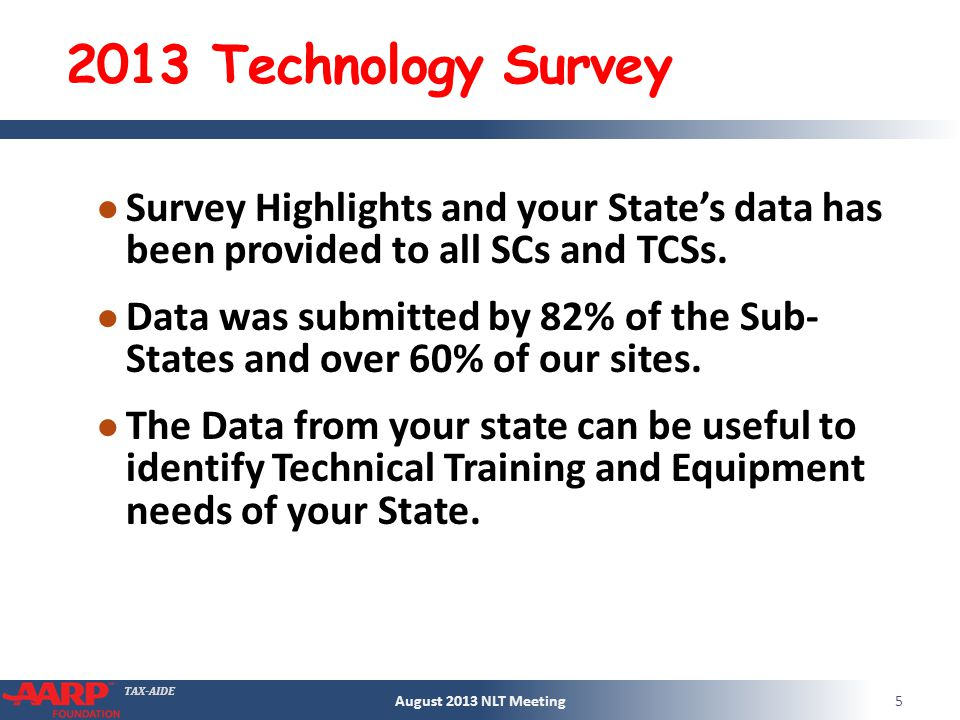 TAX-AIDE 2013 Technology Survey Survey Highlights and your States data has been provided to all SCs and TCSs.