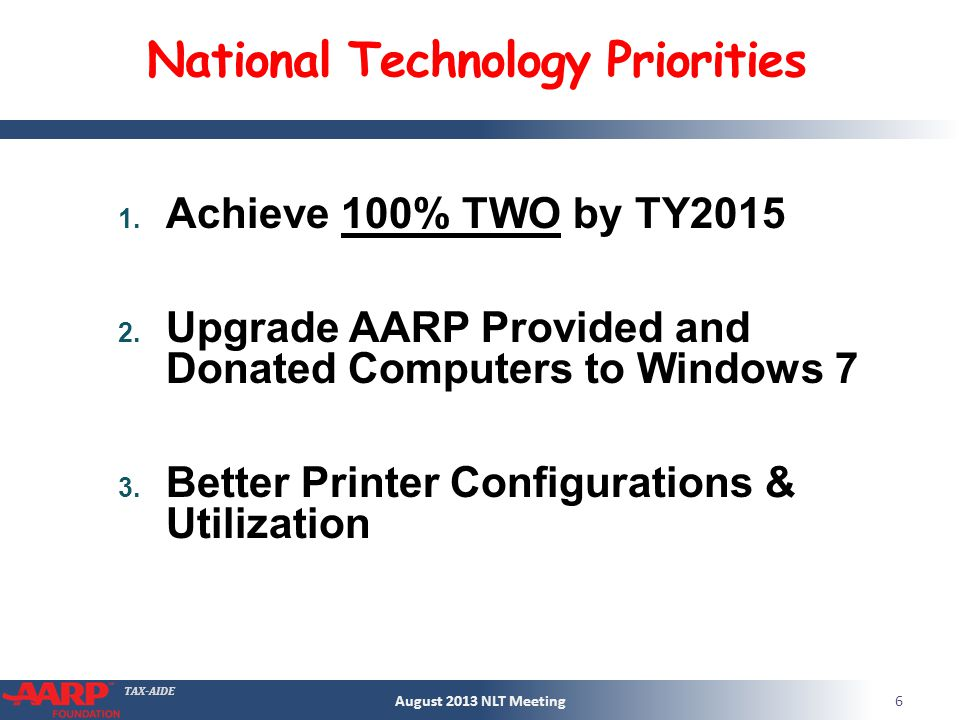 TAX-AIDE National Technology Priorities 1. Achieve 100% TWO by TY