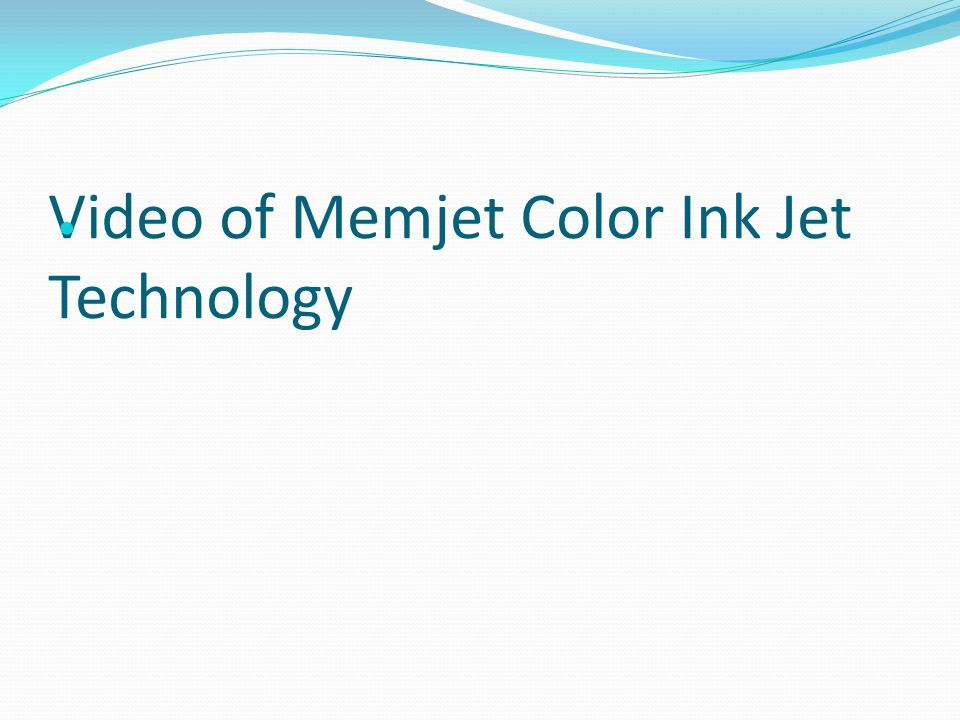 Video of Memjet Color Ink Jet Technology