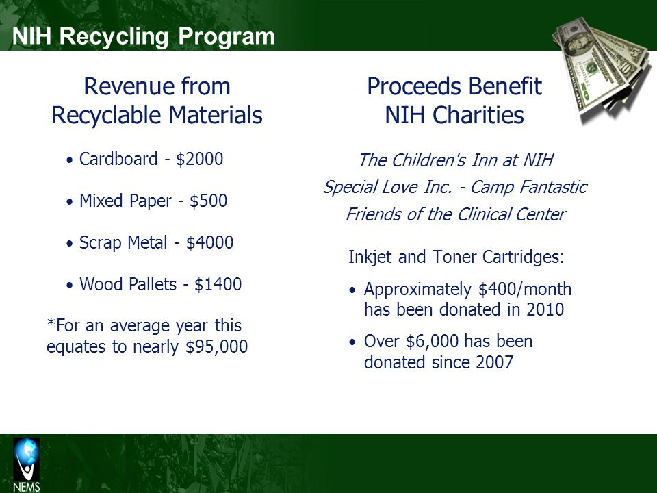 NIH Recycling Program Proceeds Benefit NIH Charities The Children's Inn at NIH Special Love Inc. - Camp Fantastic Friends of the Clinical Center Inkje