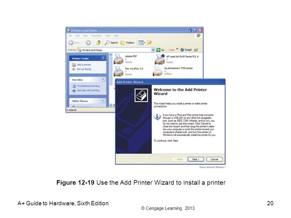 © Cengage Learning 2013 A+ Guide to Hardware, Sixth Edition20 Figure 12-19 Use the Add Printer Wizard to install a printer
