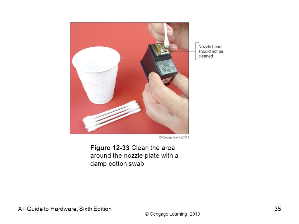 © Cengage Learning 2013 A+ Guide to Hardware, Sixth Edition35 Figure 12-33 Clean the area around the nozzle plate with a damp cotton swab