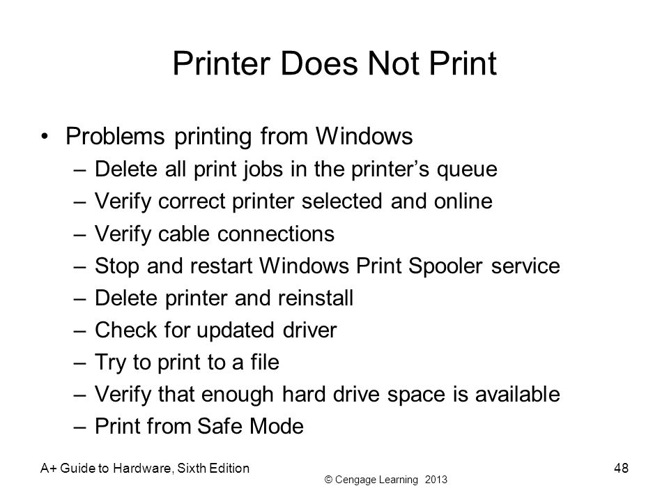 © Cengage Learning 2013 Printer Does Not Print Problems printing from Windows –Delete all print jobs in the printers queue –Verify correct printer sel