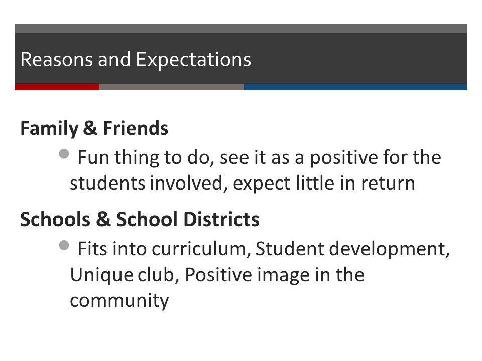 Reasons and Expectations Family & Friends Fun thing to do, see it as a positive for the students involved, expect little in return Schools & School Districts Fits into curriculum, Student development, Unique club, Positive image in the community