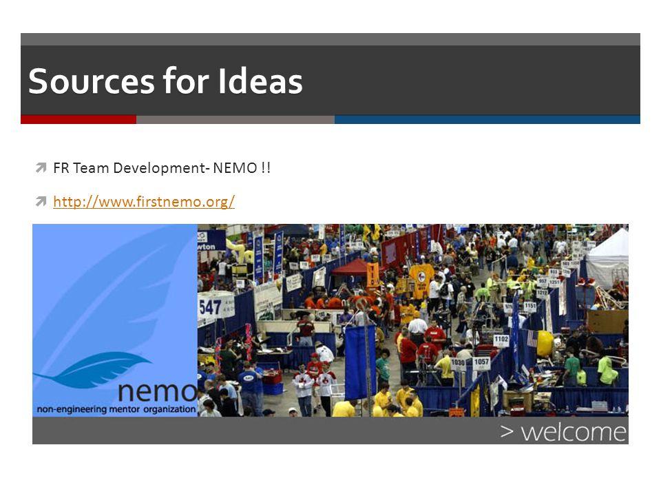 Sources for Ideas FR Team Development- NEMO !! http://www.firstnemo.org/