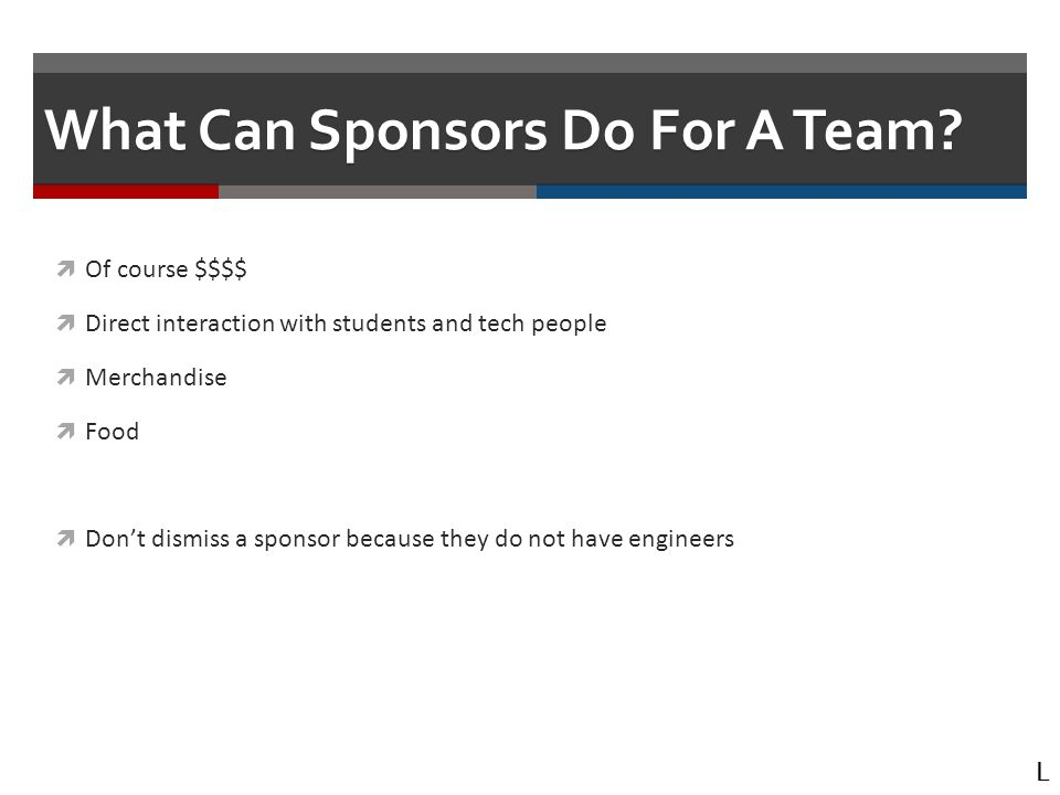 What Can Sponsors Do For A Team.