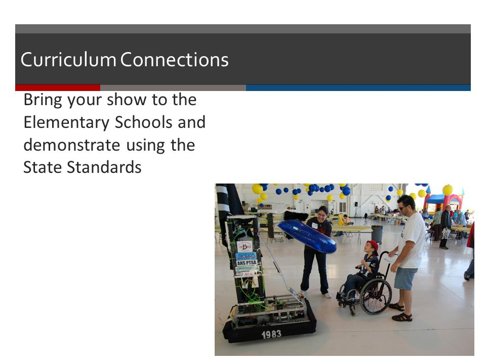 Curriculum Connections Bring your show to the Elementary Schools and demonstrate using the State Standards