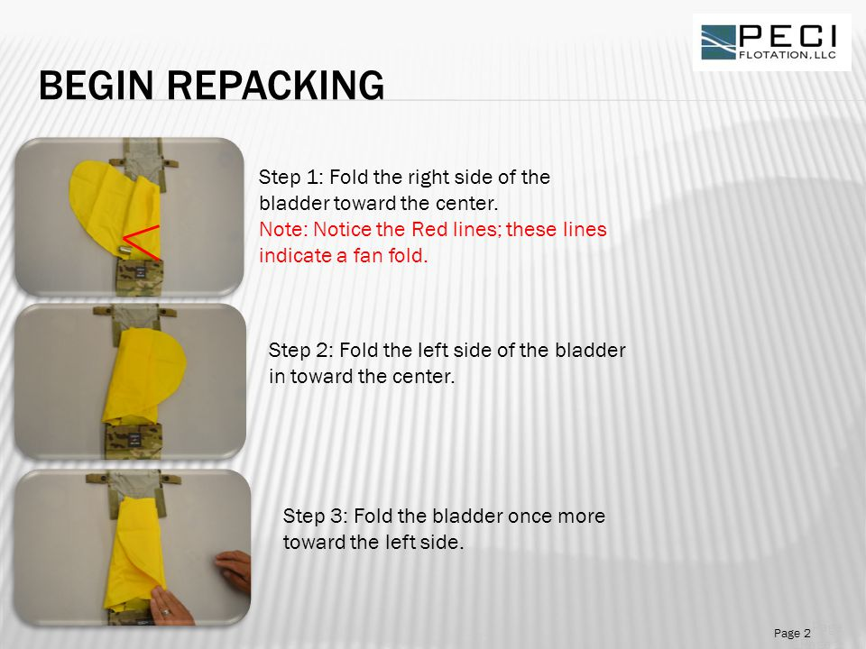BEGIN REPACKING Step 1: Fold the right side of the bladder toward the center.