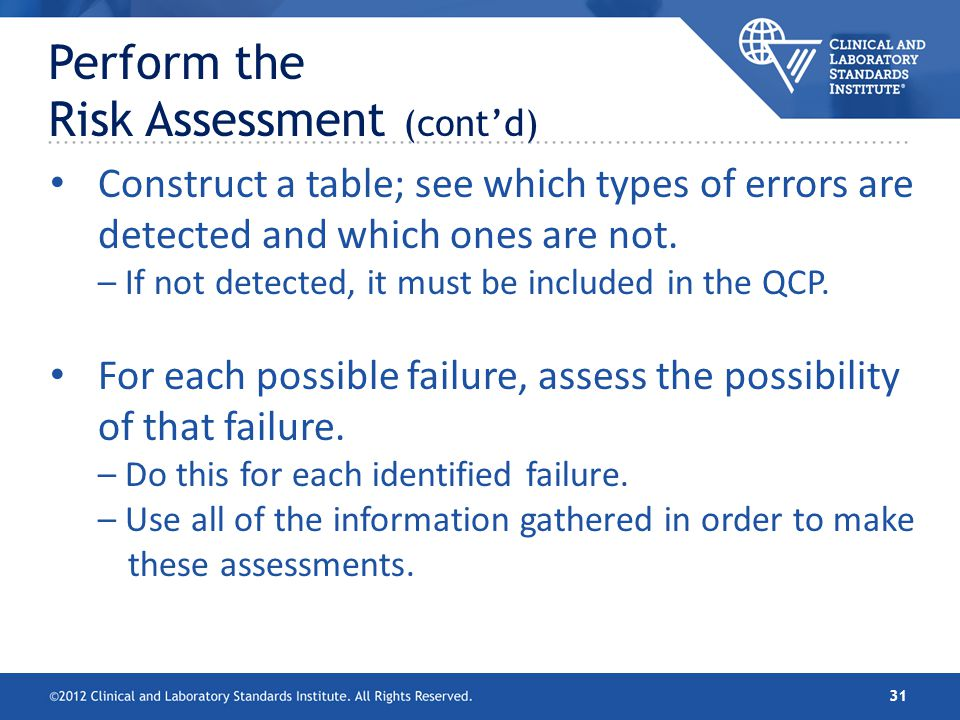 Construct a table; see which types of errors are detected and which ones are not. – If not detected, it must be included in the QCP. For each possible