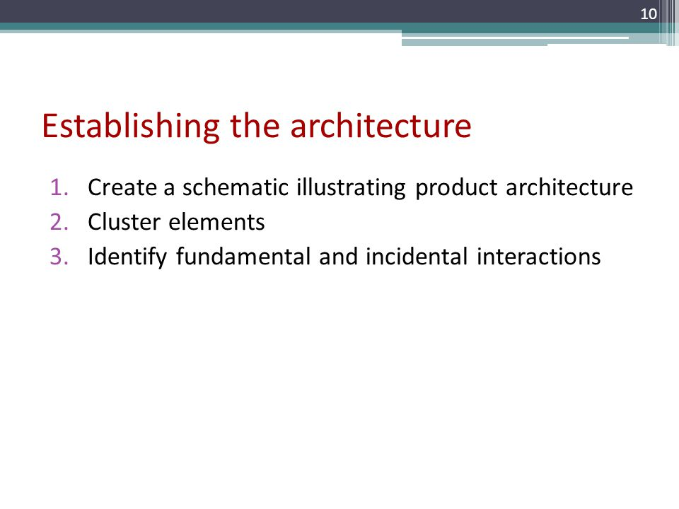 Establishing the architecture 1.Create a schematic illustrating product architecture 2.Cluster elements 3.Identify fundamental and incidental interact