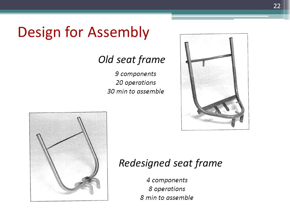 Design for Assembly Old seat frame Redesigned seat frame 22 9 components 20 operations 30 min to assemble 4 components 8 operations 8 min to assemble